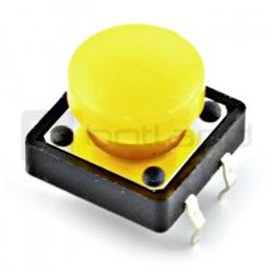 Tact Switch 12x12 mm z nasadką okrągły - żółty