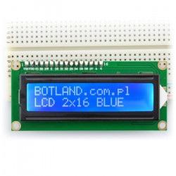 Wyświetlacz LCD 2x16 znaków niebieski ze złączami