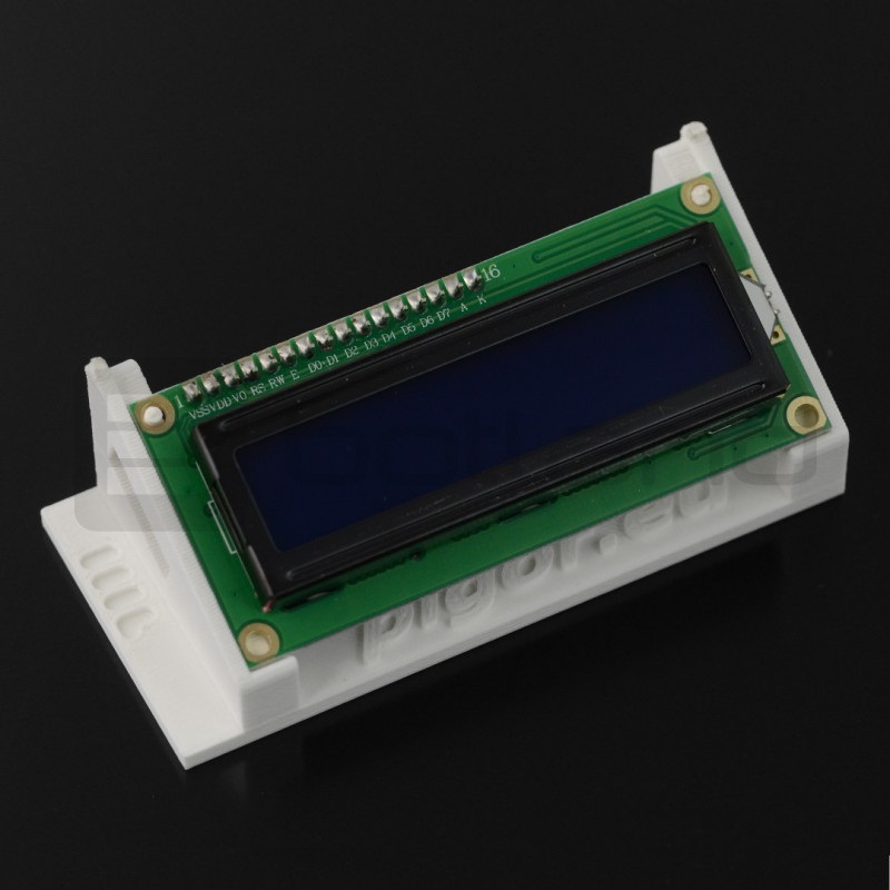 Podstawka na wyświetlacz LCD 2x16 znaków - druk 3D - biała