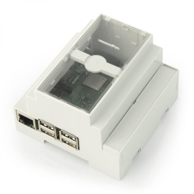 Obudowa Raspberry Pi 3B+/3B/2B na szynę DIN - szara/ przeźroczysta