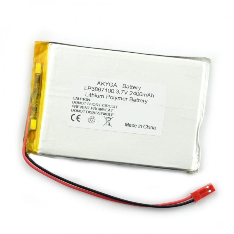 Akumulator Li-Pol Akyga 2400mAh 1S 3.7V - złącze JST-BEC + gniazdo