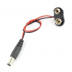 Adapter wtyk DC 5.5/2.1 - wtyk 6F22 bateria 9V