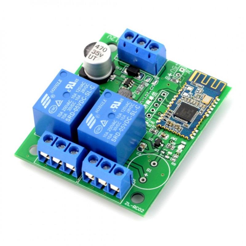 Moduł przekaźników 2 kanały + Bluetooth 4.0 BLE - styki 10A/250V - cewka 5V