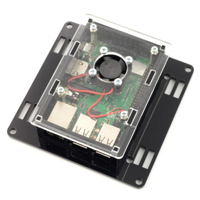 Obudowa Raspberry Pi model 3B+/3B/2B Vesa v2 do montażu na monitor - czarno-przezroczysta + wentylator