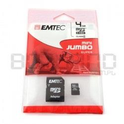 Karta pamięci EMTEC micro SD / SDHC 4GB klasa 4 z adapterem