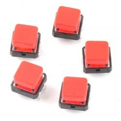Tact Switch 12x12 mm z nasadką kwadratowy - czerwony