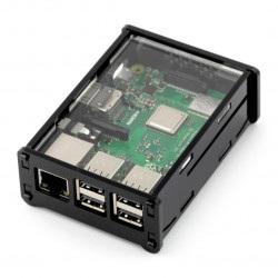 Obudowa Raspberry Pi Model 3B+/3B/2B czarno-przezroczysta