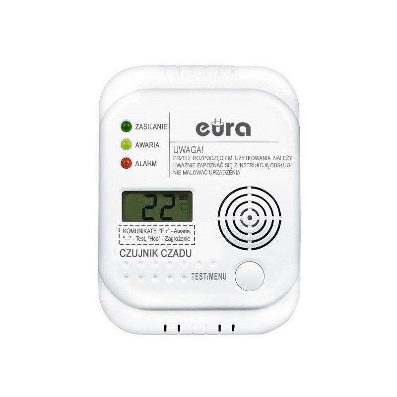 Eura-tech Eura CD-65A4 - czujnik tlenku węgla (czadu) LCD 4,5V DC