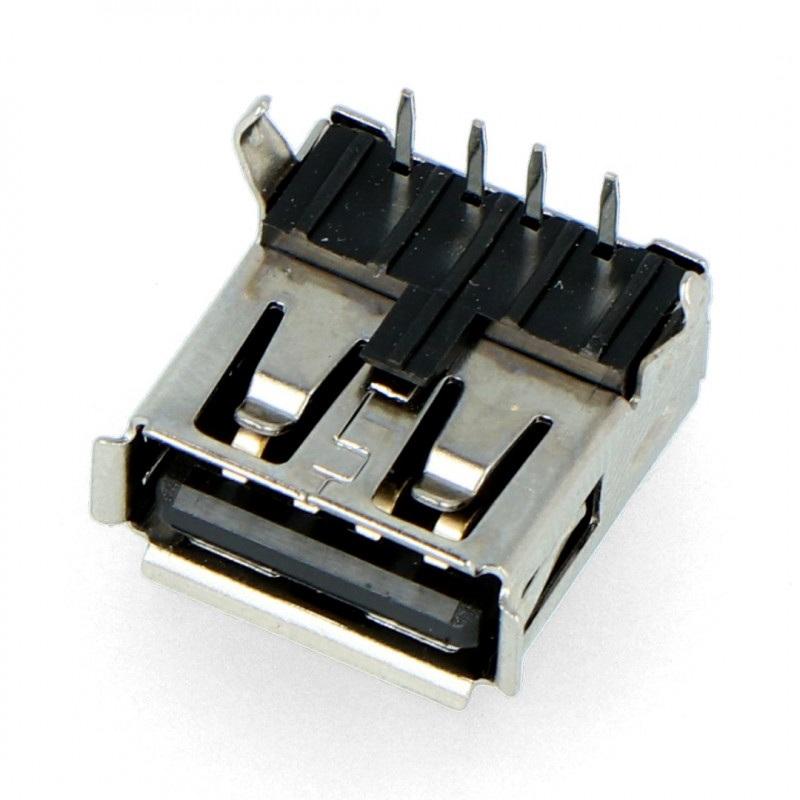Gniazdo USB typu A - żeńskie THT