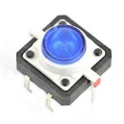 Tact Switch 12x12, 7mm THT 6pin - niebieskie podświetlenie