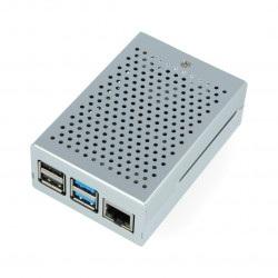 Obudowa do Raspberry Pi 4B - aluminiowa z wentylatorem - srebrna