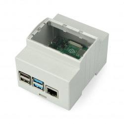 Obudowa Raspberry Pi model 4B na szynę DIN - ABS - szara- LT-4A03