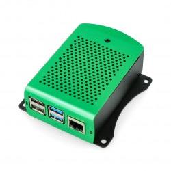 Obudowa Raspberry Pi model 4B aluminiowa - zielona - LT-4B01-A