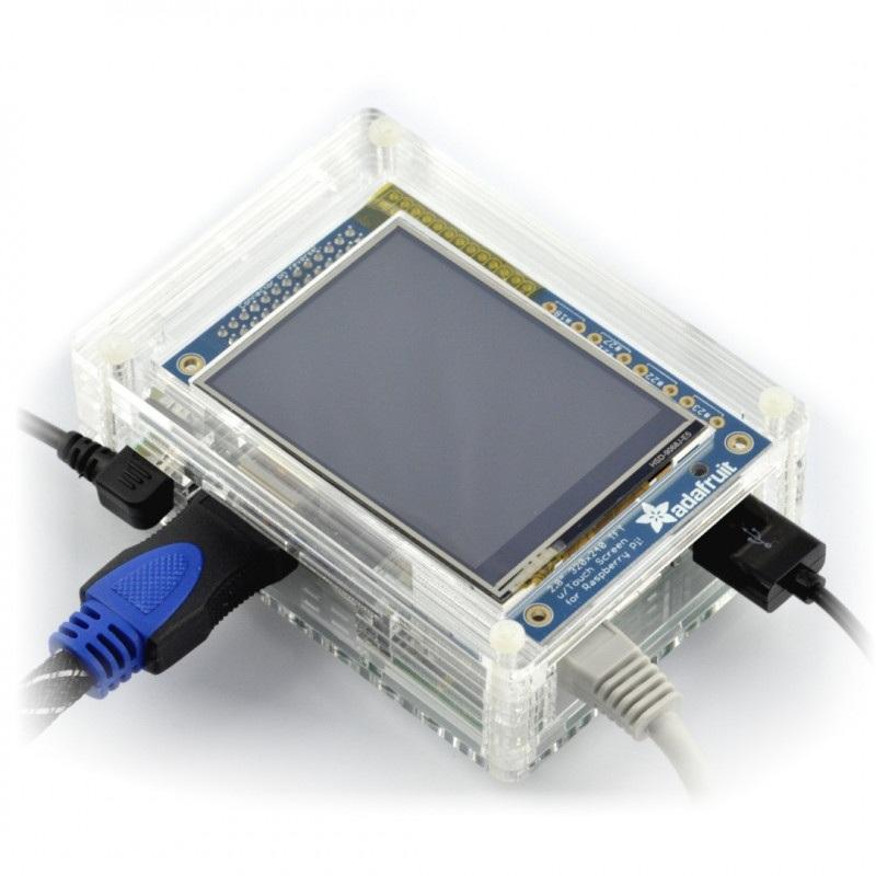 Obudowa Raspberry Pi B+ i wyświetlacz PiTFT - przezroczysta