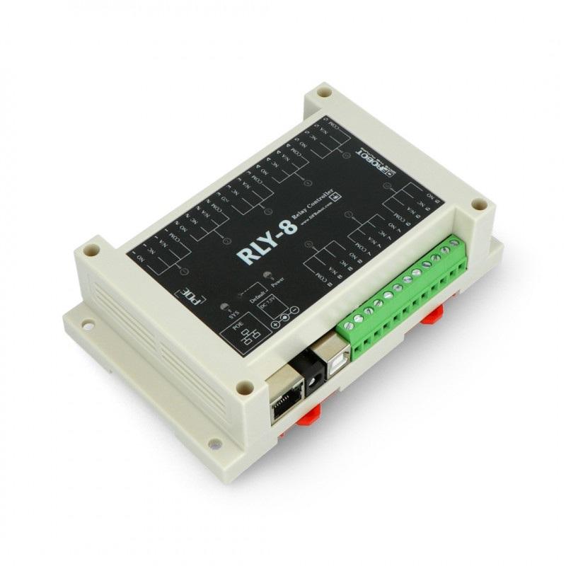 Ethernetowy kontroler z 8-kanałowym przekaźnikiem - RLY-8-POE-USB