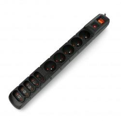Listwa zasilająca z zabezpieczeniami Acar S10 czarna - 10 gniazd - 1,5m