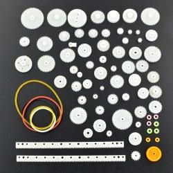Zestaw kół zebatych i pasków - 75 elementów