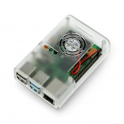 Obudowa do Raspberry Pi 4B z wentylatorem - przezroczysta