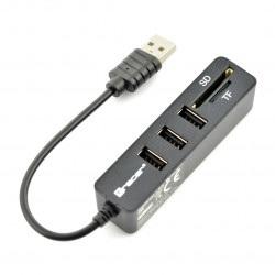 Czytnik kart pamięci All-in-one Tracer + Hub USB CH4