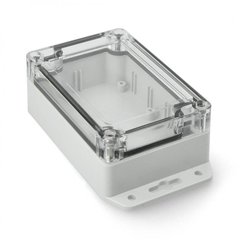 Obudowa plastikowa Kradex Z128 JD ABS-PC z uszczelką i mosiężnymi tulejkami IP65 - 105x70x40mm jasna z uszami