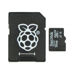 Karta pamięci SanDisk microSD 16GB 80MB/s klasa 10 (z adapterem) + system Raspbian NOOBs dla Raspberry Pi 4B/3B+/3B/2B