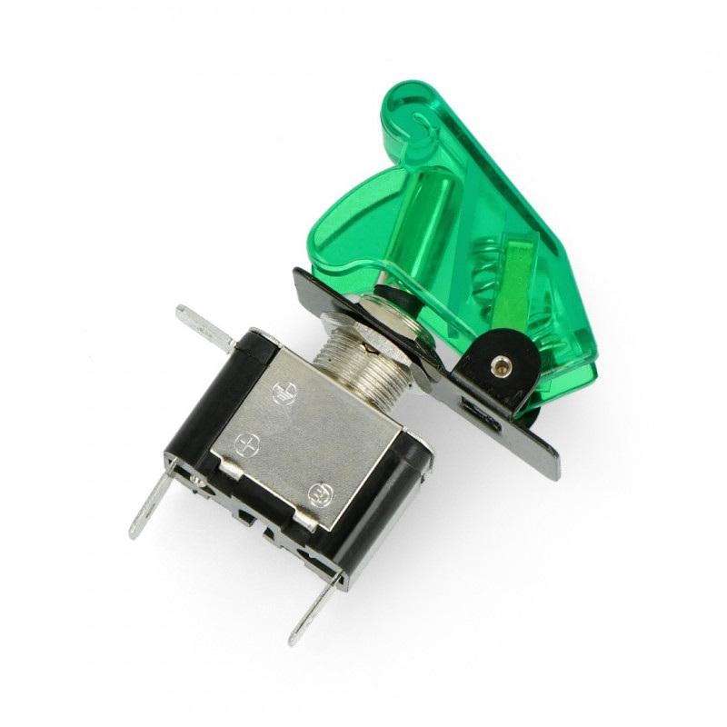 Przełącznik dźwigniowy ON-OFF 12V/20A podświetlany - zielony