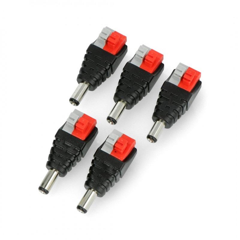 Wtyk DC 5.5 x 2.1mm z szybkozłączem i przyciskami
