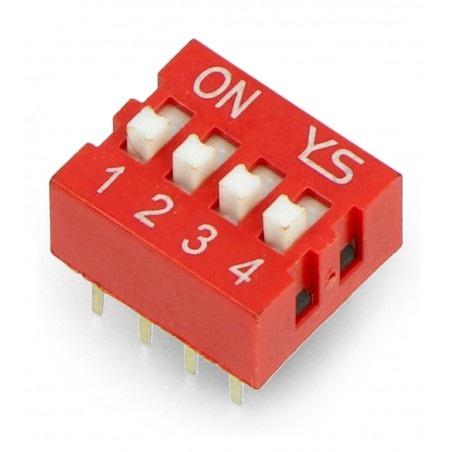 Przełącznik DIP switch 4-polowy - czerwony