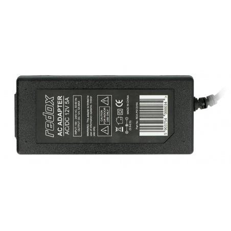 Zasilacz impulsowy Redox 12V / 5A - wtyk DC 5,5 / 2,1 mm