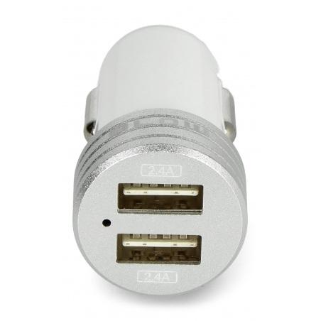 Ładowarka samochodowa z gniazdem 2x USB 4,8A C48 - biała