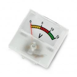 Woltomierz analogowy - panelowy 91C16 mini - 15V DC