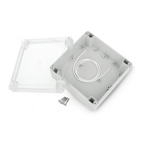 Obudowa plastikowa Kradex ZP135.135.60JpH TM ABS-PC z uszczelką i mosiężnymi tulejkami IP65 - 135x135x60mm jasnoszara-przez