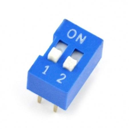Przełącznik DIP switch 2-polowy - niebieski
