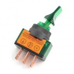 Przełącznik dźwigniowy ON-OFF ASW-14D 12V/20A podświetlany - zielony