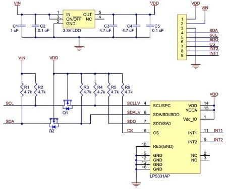 Schemat modułu Pololu LPS331AP
