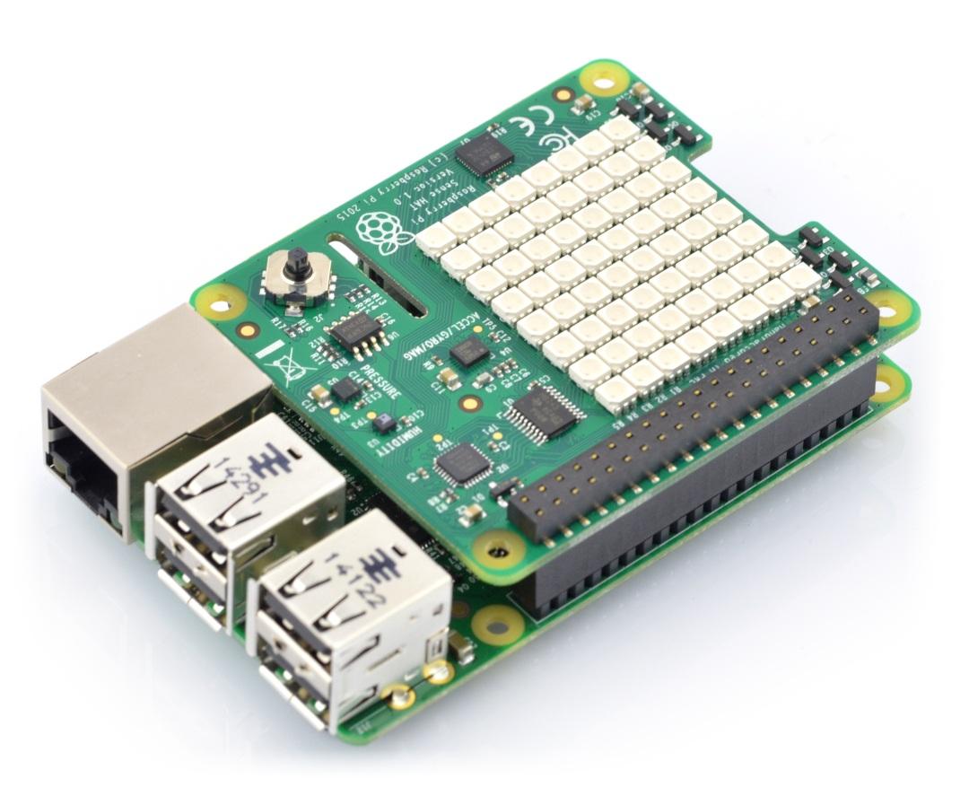 Nakładka Sense Hat wraz z Raspberry Pi