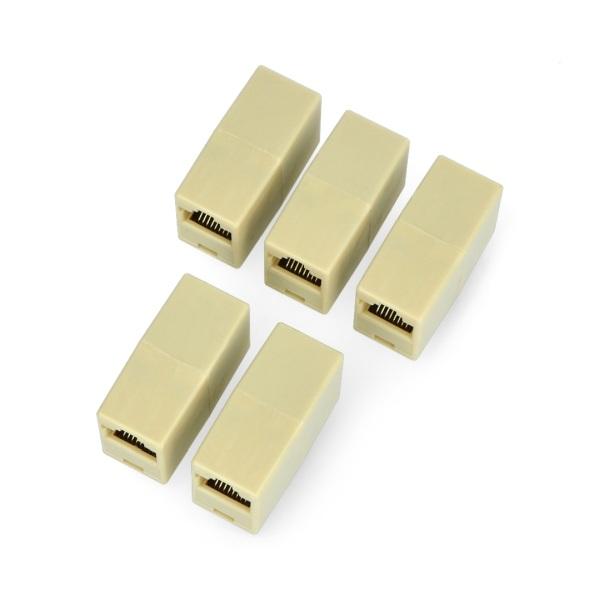 Złącze do łączenia kabli sieciowych RJ45 / 8P8C - beżowe - 5szt.