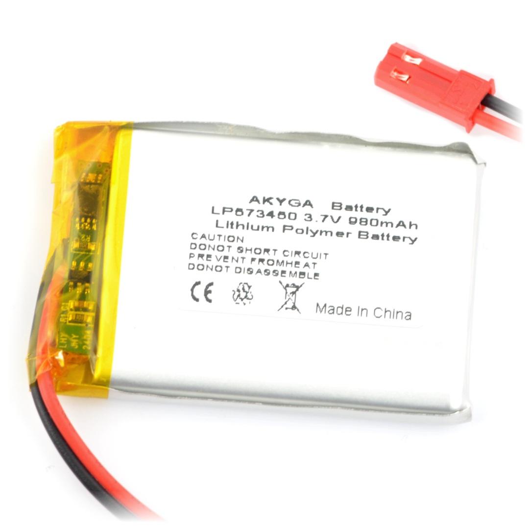 Akumulator Li-Pol Akyga 980 mAh 1S 3,7 V - złącze JST-BEC + gniazdo - 50 x 34 x 6 mm