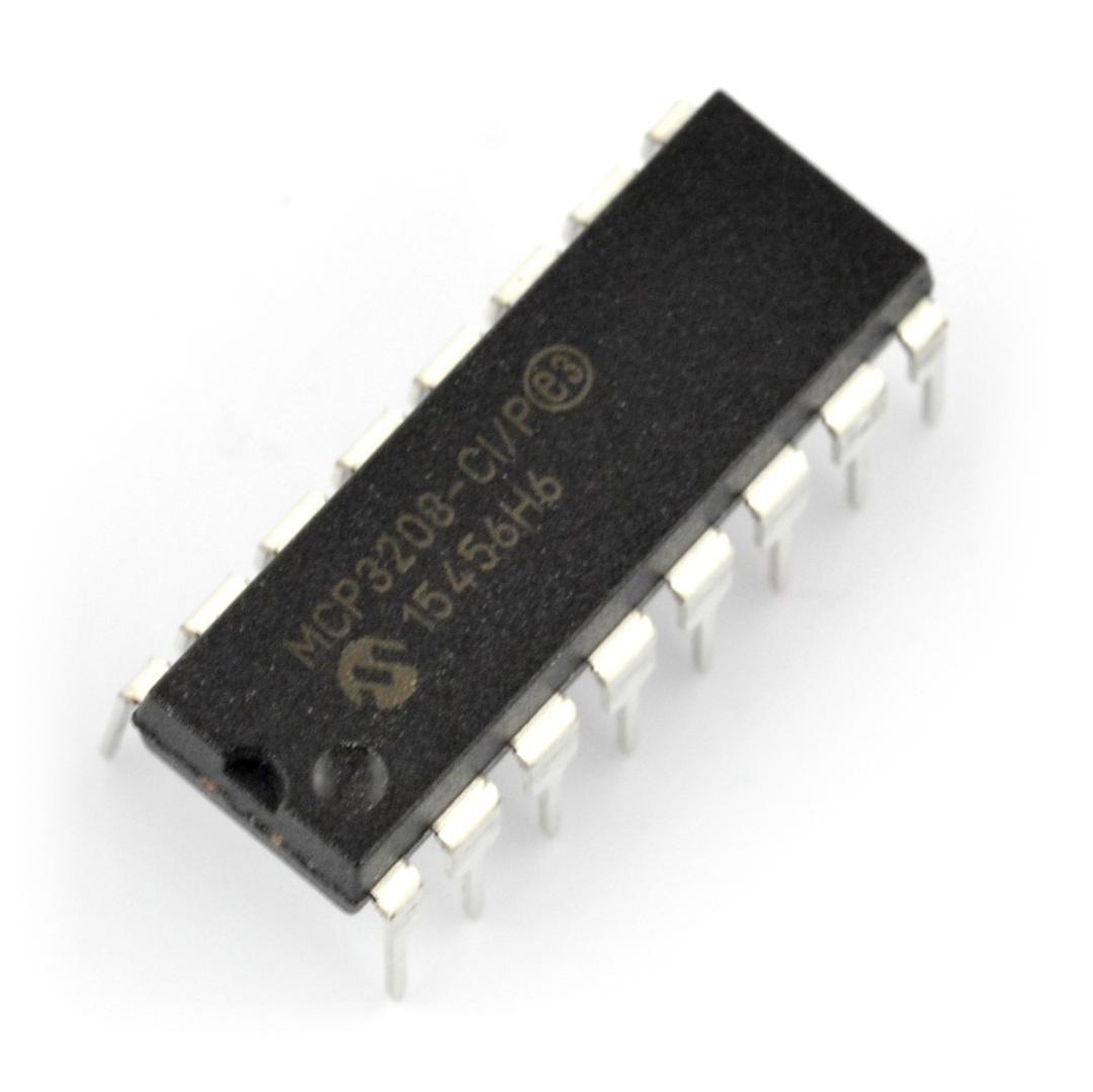 Przetwornik A/C MCP3208-CI/P 12-bitowy 8-kanałowy SPI - DIP