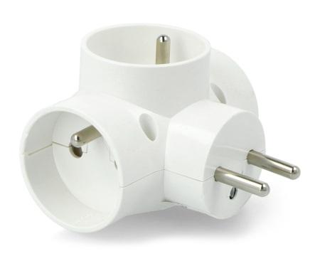 Rozgałęziacz potrójny DPM do gniazda sieciowego AC 250 V - biały