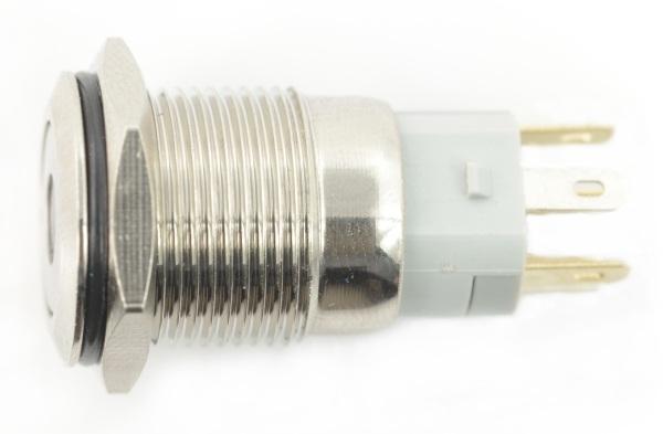 Przełącznik ON-OFF monostabilny - PBW-16BPD - 2A 250V - płaski zielony punkt