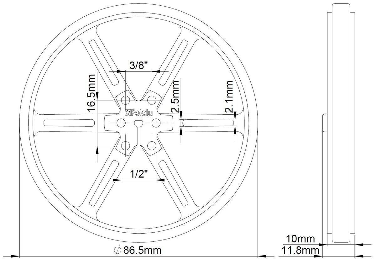 Wymiary koła Pololu 90x10mm