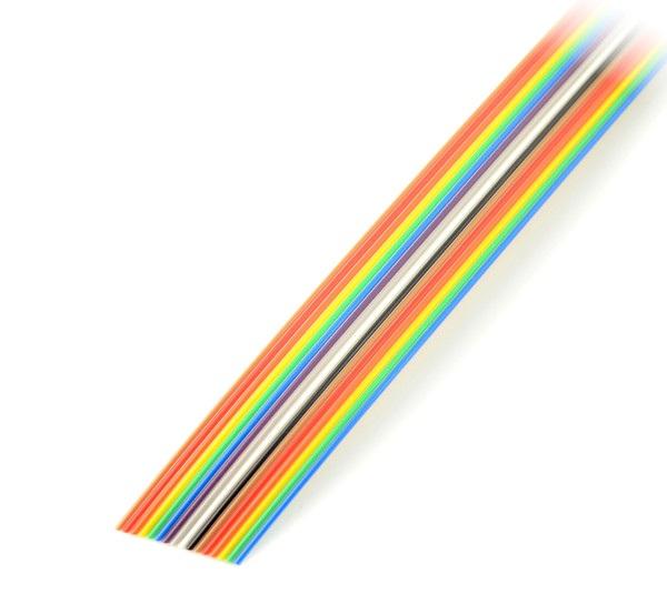 Przewód taśmowy 16 żył kolorowy IDC raster 1,27 mm - rolka 30,5m