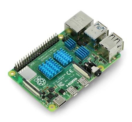 Zestaw radiatorów kompatybilnych z Raspberry Pi 4 niebieskie 4 szt.