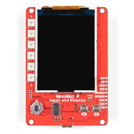 SparkFun MicroModand Display Carrier Boardposiada dwa przyciski użytkowe umieszczone w przedniej części modułu.