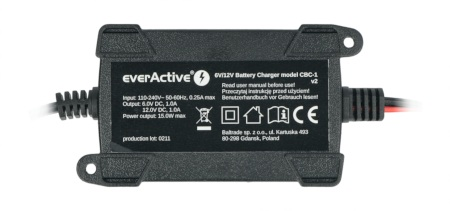 Ładowarka do akumulatorów, prostownik samochodowy automatyczny do akumulatora 6V/12V EverActive CBC-1 v2