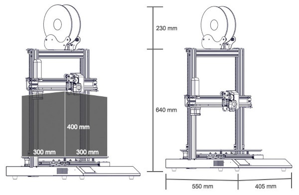 Wymiary pola roboczego i konstrukcji Artillery Sidewinder-X1