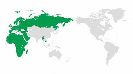 Obsługiwane regiony zostały oznaczone kolorem zielonym.