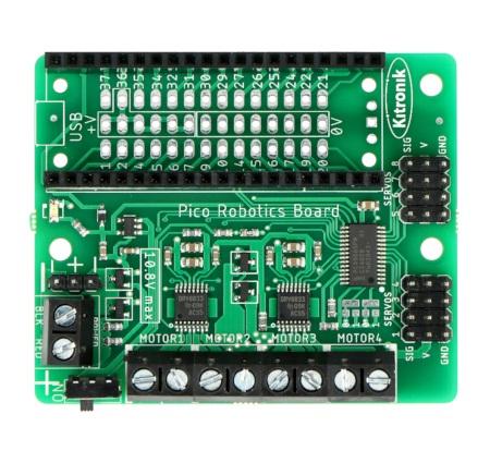 Sterownik posiada wyprowadzenia w postaci pinów GPIO oraz złącz śrubowych.