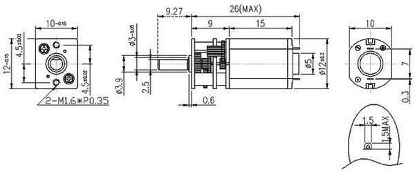 Silnik Pololu HP 10:1 obustronny wał